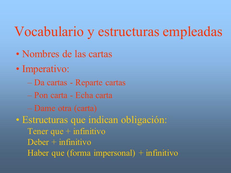 Vocabulario y estructuras empleadas