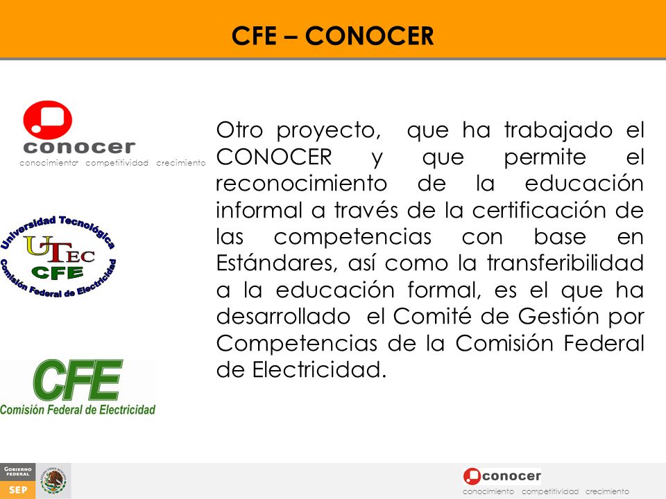 CFE – CONOCER conocimiento competitividad crecimiento.