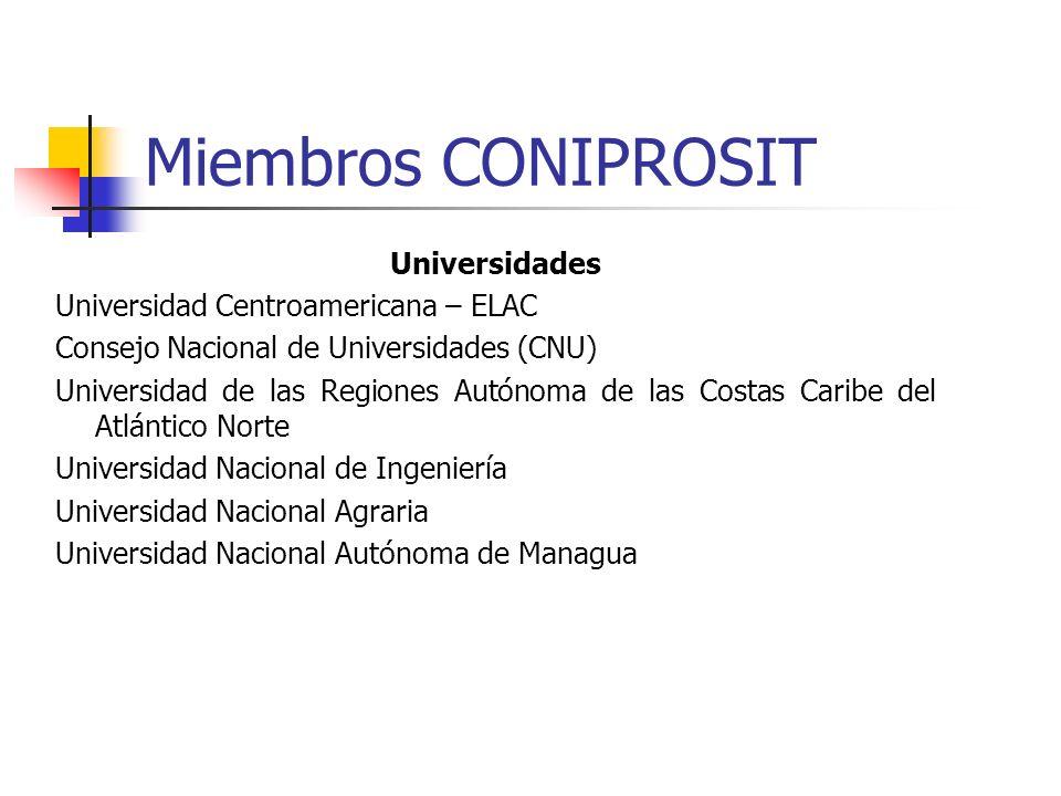 Miembros CONIPROSIT Universidades Universidad Centroamericana – ELAC