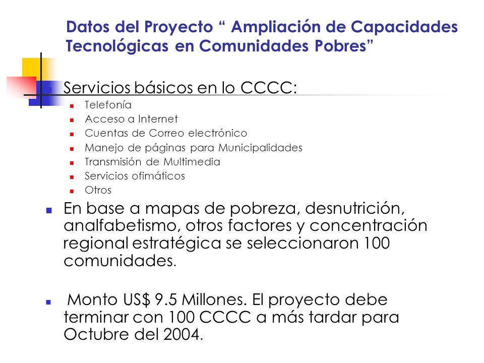 Servicios básicos en lo CCCC: