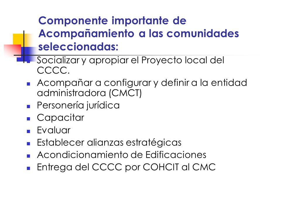 Componente importante de Acompañamiento a las comunidades seleccionadas: