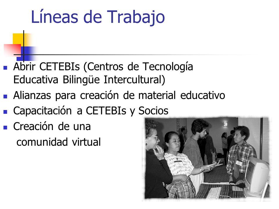 Líneas de Trabajo Abrir CETEBIs (Centros de Tecnología Educativa Bilingüe Intercultural) Alianzas para creación de material educativo.
