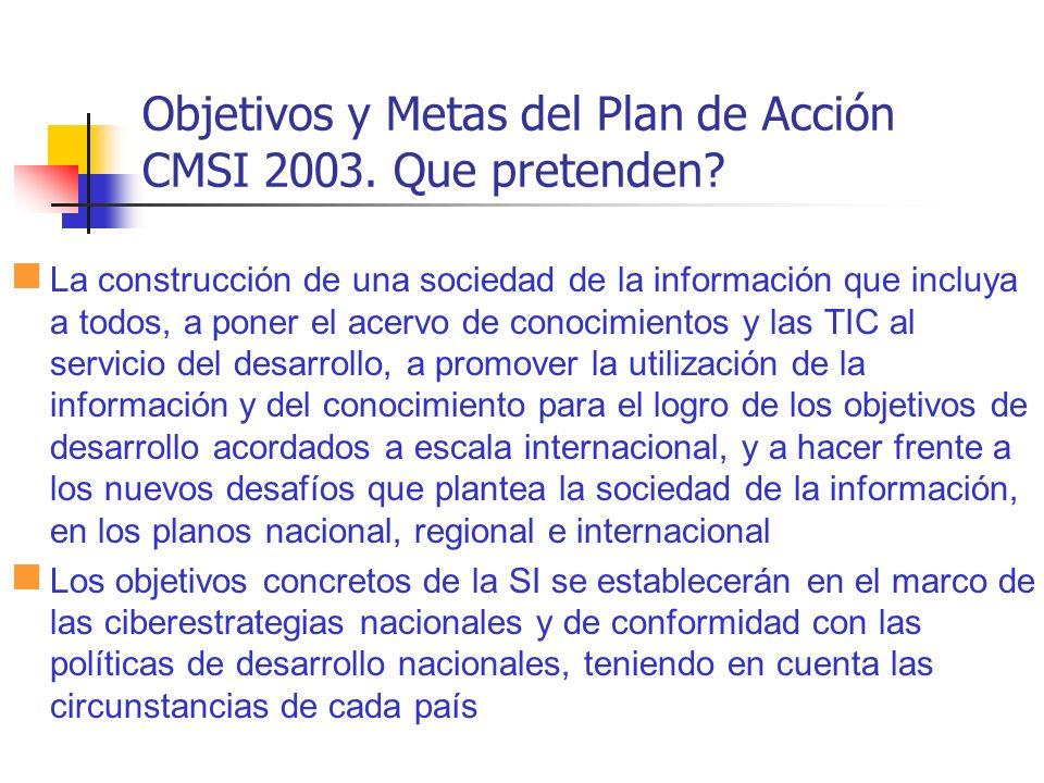 Objetivos y Metas del Plan de Acción CMSI 2003. Que pretenden