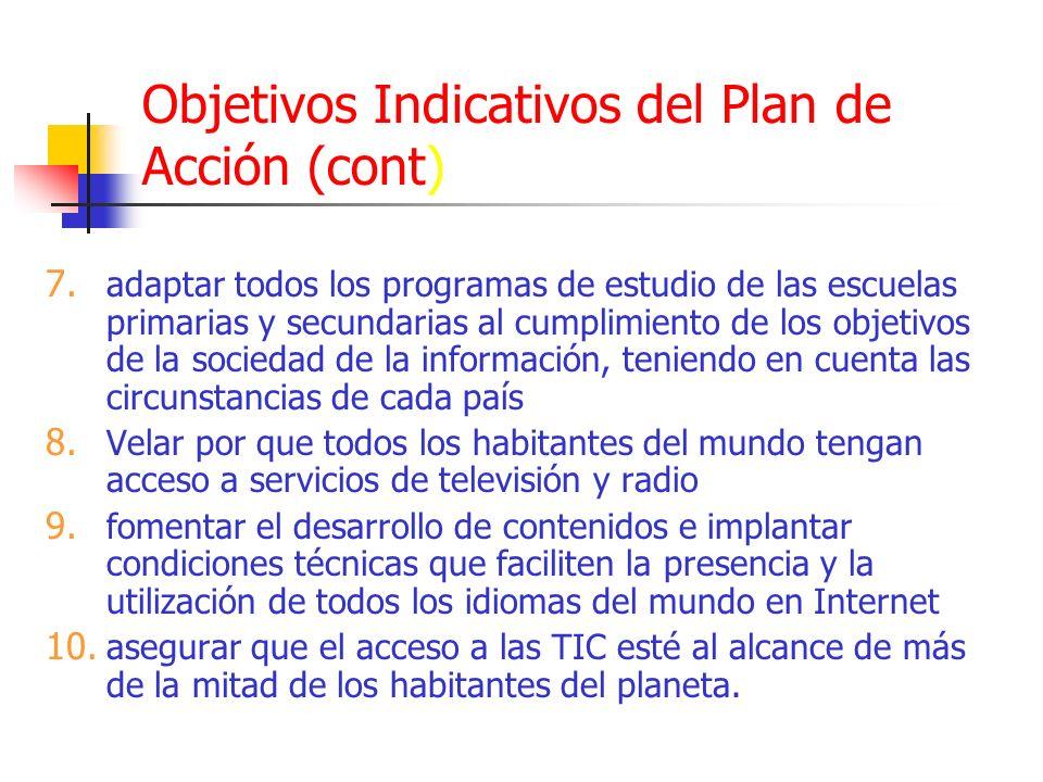 Objetivos Indicativos del Plan de Acción (cont)