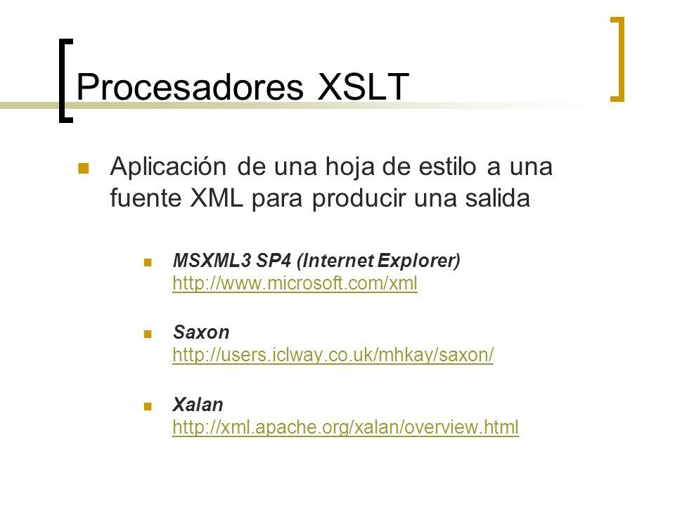 Procesadores XSLT Aplicación de una hoja de estilo a una fuente XML para producir una salida.