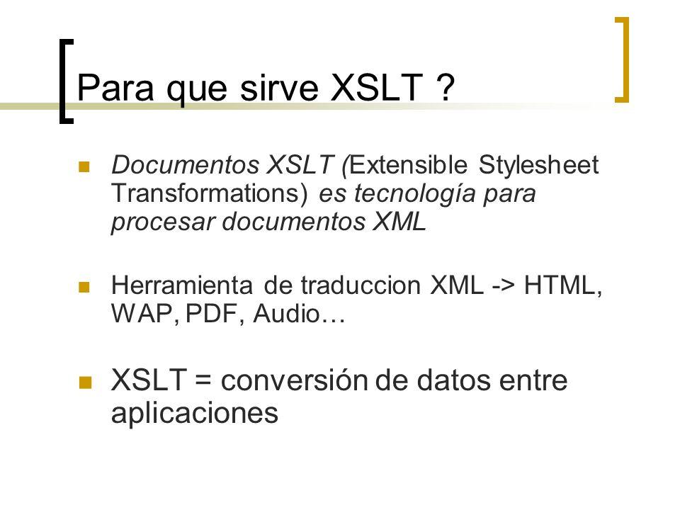 Para que sirve XSLT XSLT = conversión de datos entre aplicaciones