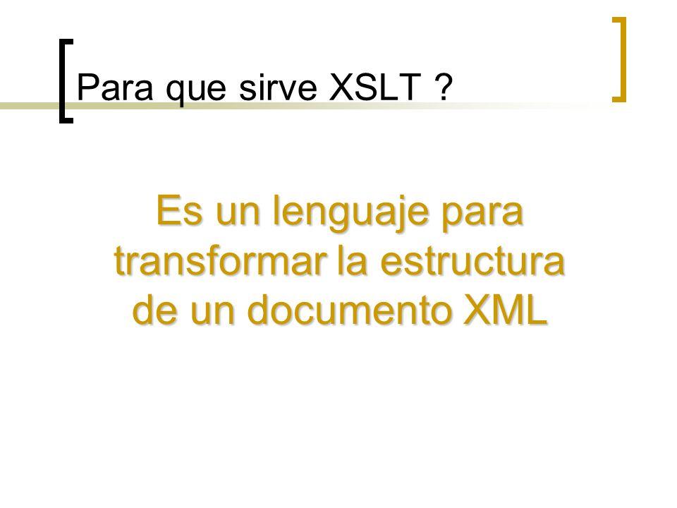 Es un lenguaje para transformar la estructura de un documento XML