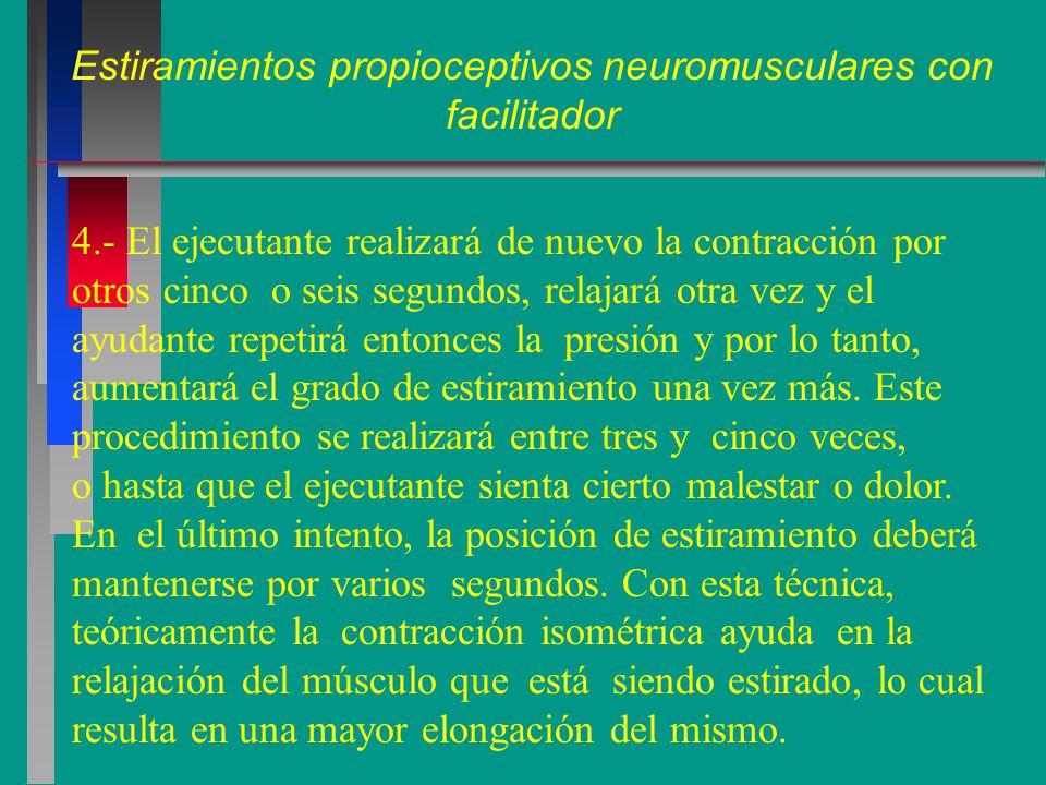 Estiramientos propioceptivos neuromusculares con facilitador