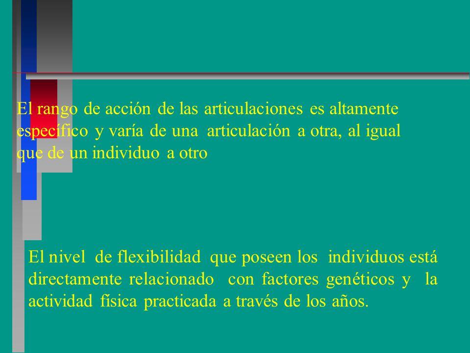 El rango de acción de las articulaciones es altamente específico y varía de una articulación a otra, al igual que de un individuo a otro