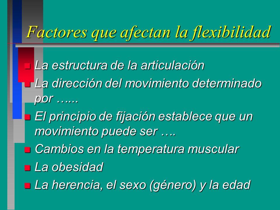 Factores que afectan la flexibilidad
