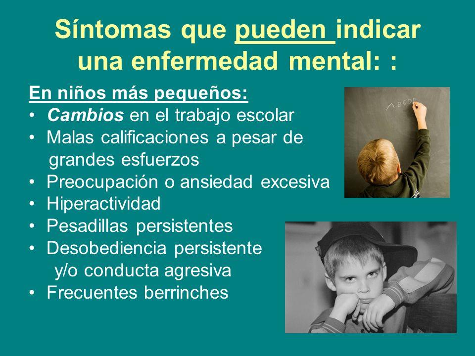 Síntomas que pueden indicar una enfermedad mental: :