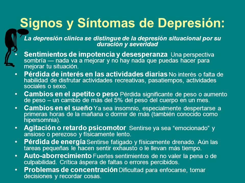 Signos y Síntomas de Depresión: