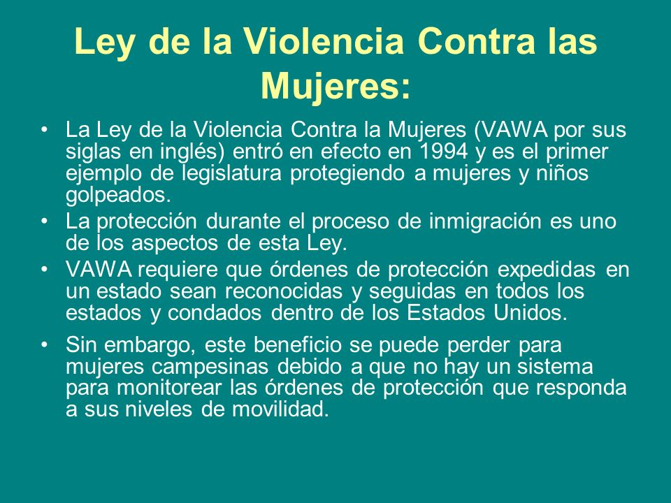 Ley de la Violencia Contra las Mujeres: