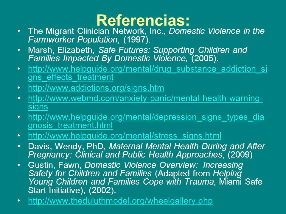 Referencias: The Migrant Clinician Network, Inc., Domestic Violence in the Farmworker Population, (1997).
