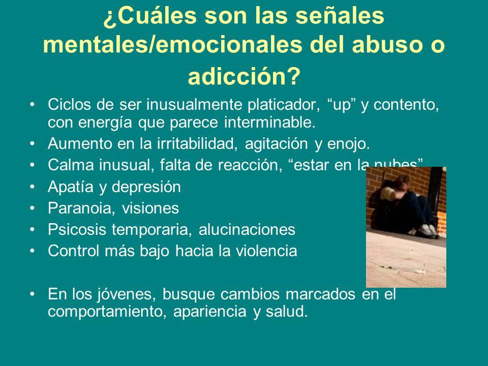 ¿Cuáles son las señales mentales/emocionales del abuso o adicción