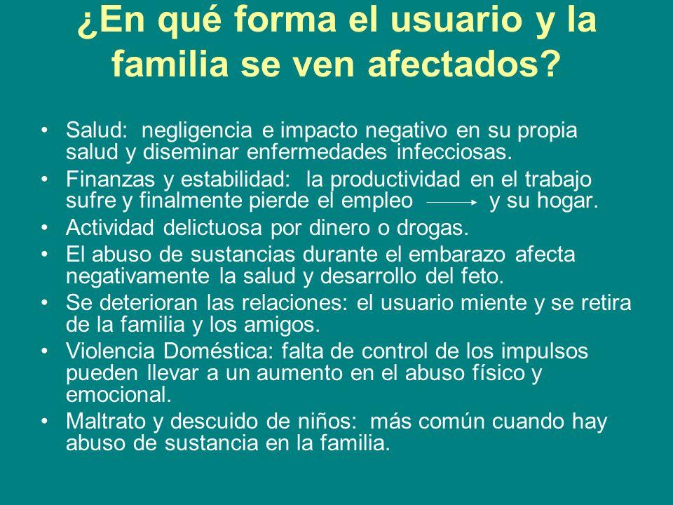 ¿En qué forma el usuario y la familia se ven afectados