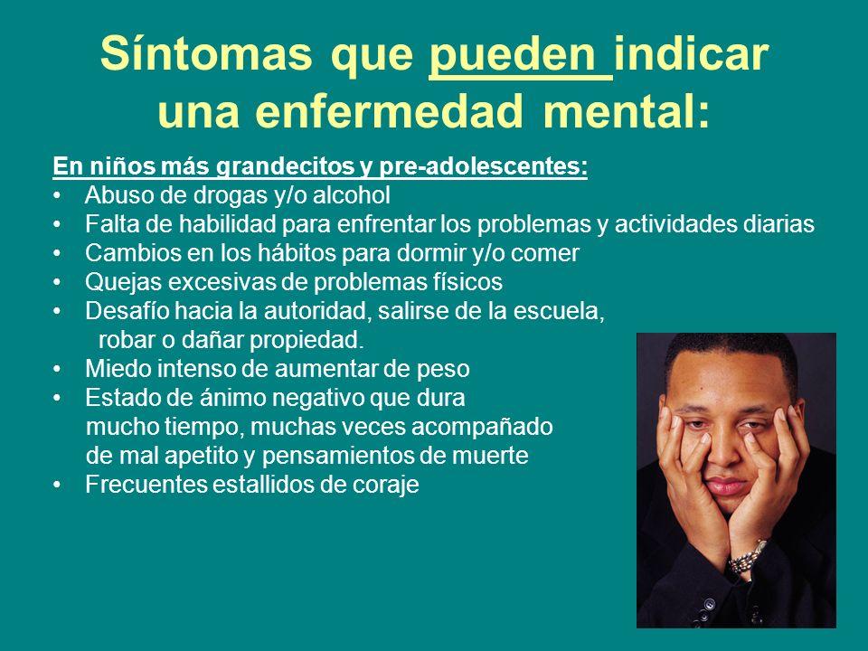 Síntomas que pueden indicar una enfermedad mental: