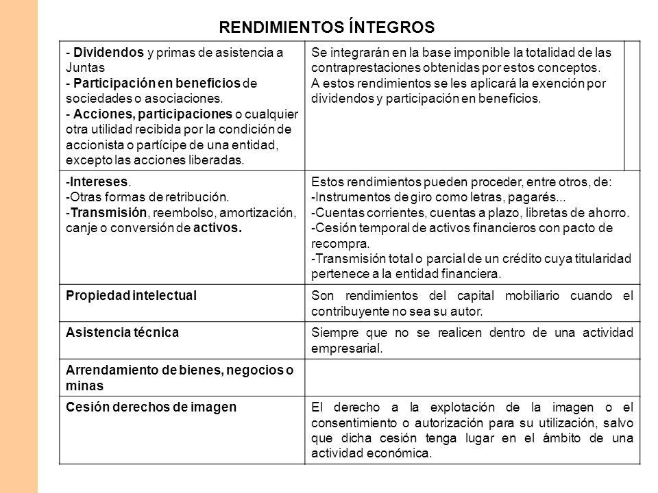 RENDIMIENTOS ÍNTEGROS