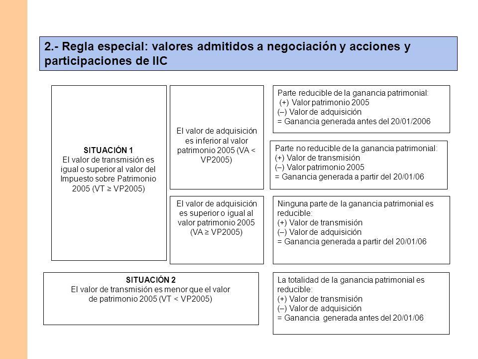 2.- Regla especial: valores admitidos a negociación y acciones y participaciones de IIC