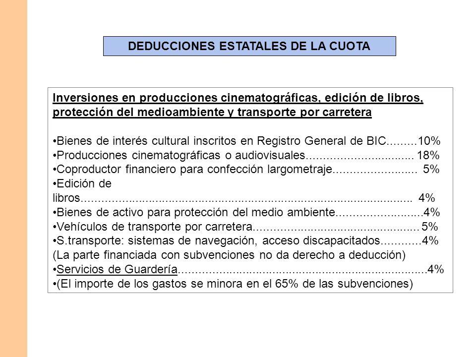 DEDUCCIONES ESTATALES DE LA CUOTA