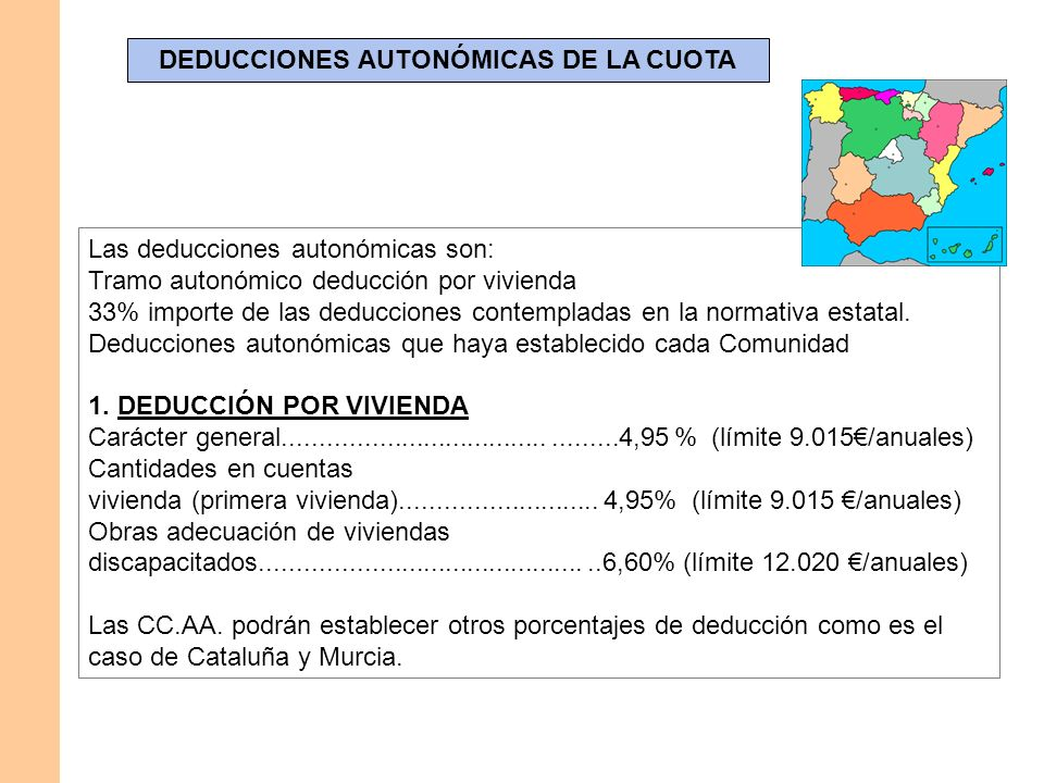 DEDUCCIONES AUTONÓMICAS DE LA CUOTA