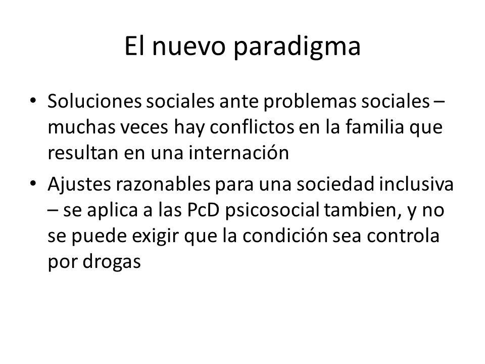 El nuevo paradigmaSoluciones sociales ante problemas sociales – muchas veces hay conflictos en la familia que resultan en una internación.
