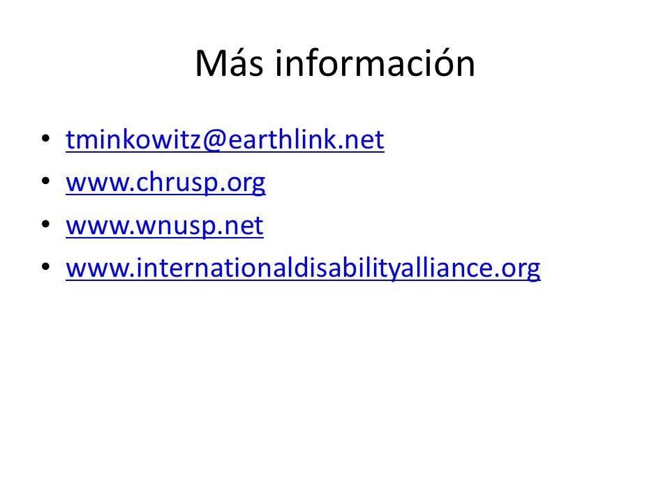 Más información tminkowitz@earthlink.net www.chrusp.org www.wnusp.net
