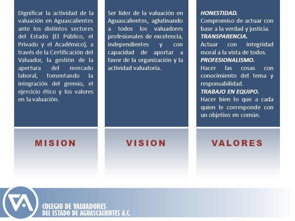 Dignificar la actividad de la valuación en Aguascalientes ante los distintos sectores del Estado (El Público, el Privado y el Académico), a través de la Certificación del Valuador, la gestión de la apertura del mercado laboral, fomentando la integración del gremio, el ejercicio ético y los valores en la valuación.