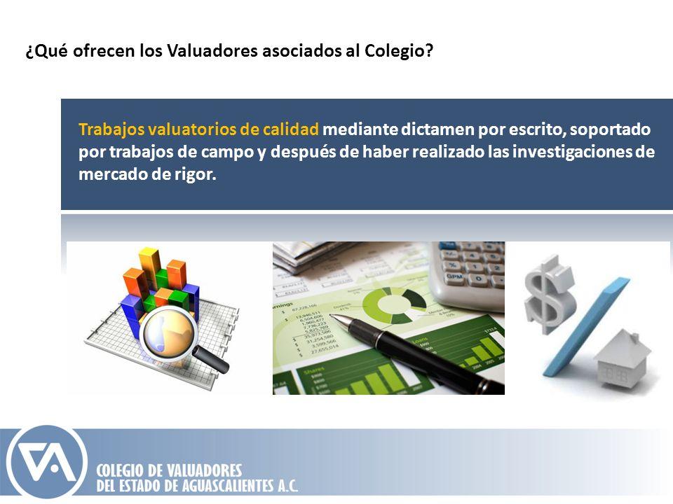 ¿Qué ofrecen los Valuadores asociados al Colegio