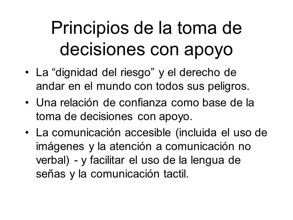 Principios de la toma de decisiones con apoyo