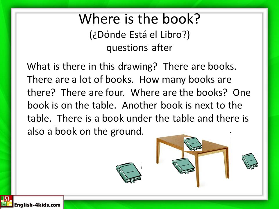 Where is the book (¿Dónde Está el Libro ) questions after