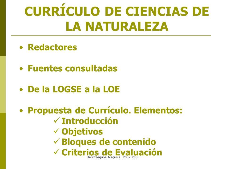 CURRÍCULO DE CIENCIAS DE LA NATURALEZA