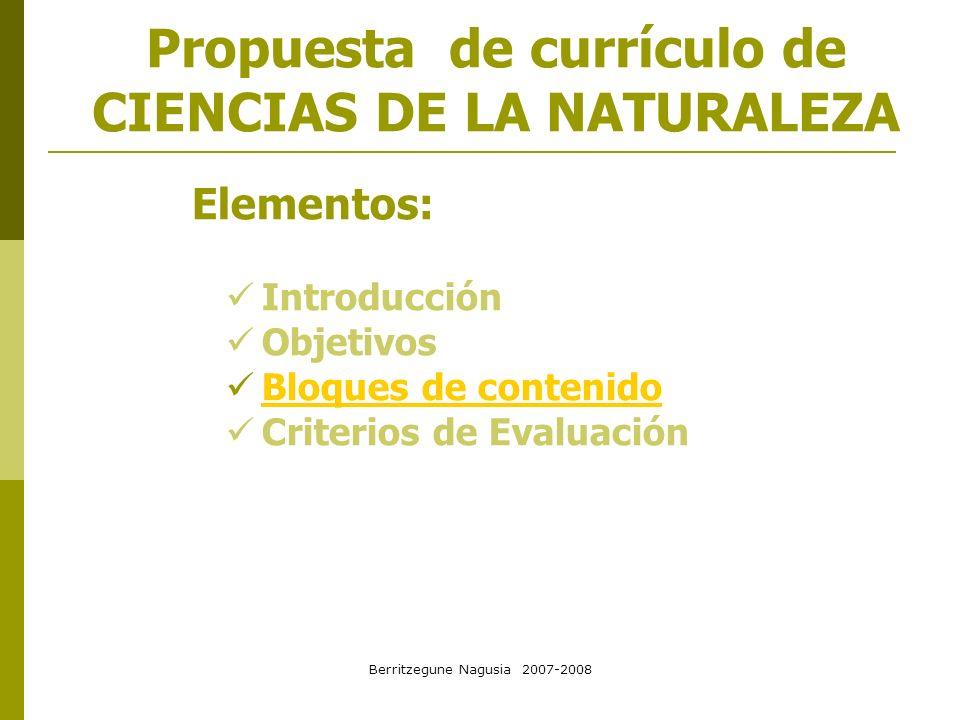 Propuesta de currículo de CIENCIAS DE LA NATURALEZA