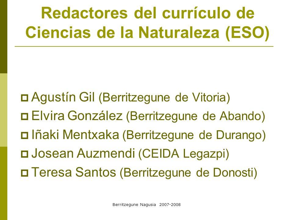 Redactores del currículo de Ciencias de la Naturaleza (ESO)