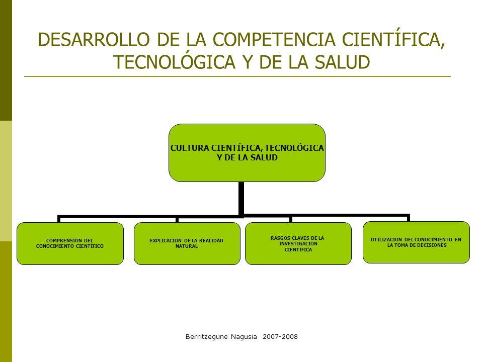 DESARROLLO DE LA COMPETENCIA CIENTÍFICA, TECNOLÓGICA Y DE LA SALUD