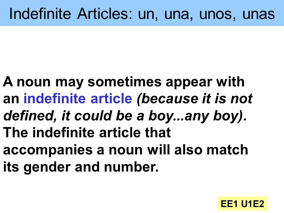 Indefinite Articles: un, una, unos, unas