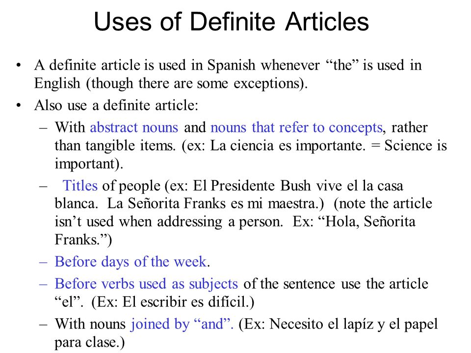 Uses of Definite Articles