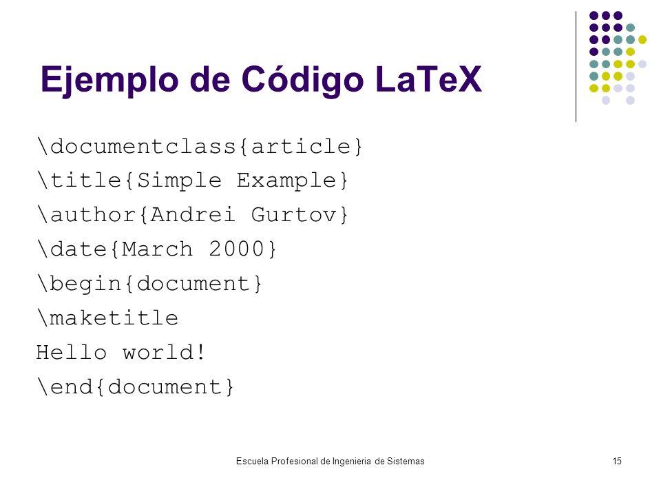 Ejemplo de Código LaTeX