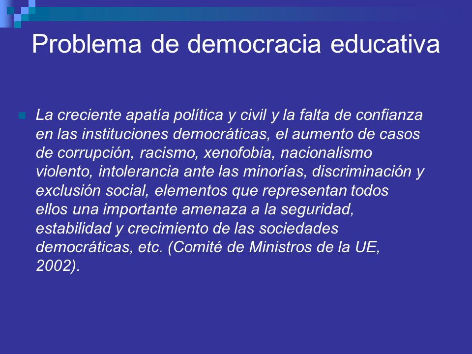 Problema de democracia educativa