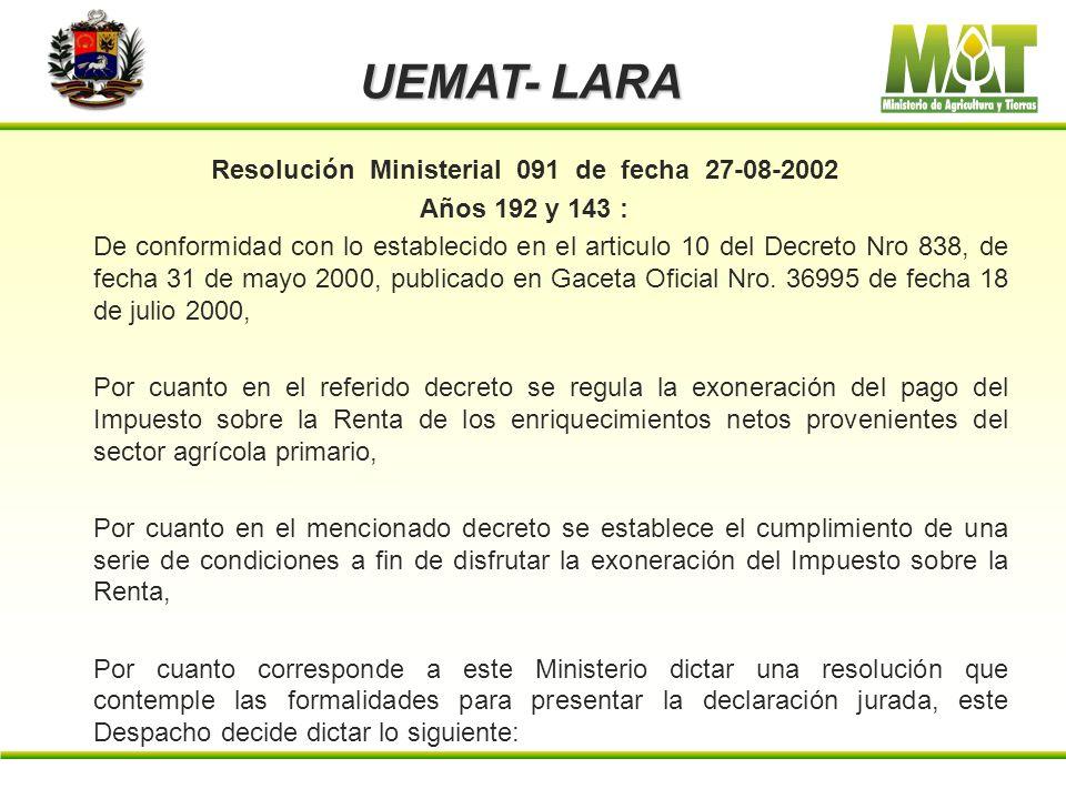 Resolución Ministerial 091 de fecha 27-08-2002