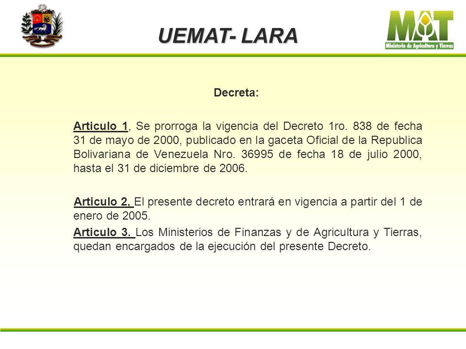 UEMAT- LARA Decreta: