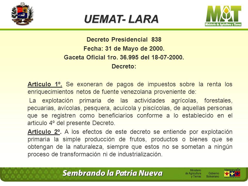 Gaceta Oficial 1ro. 36.995 del 18-07-2000.
