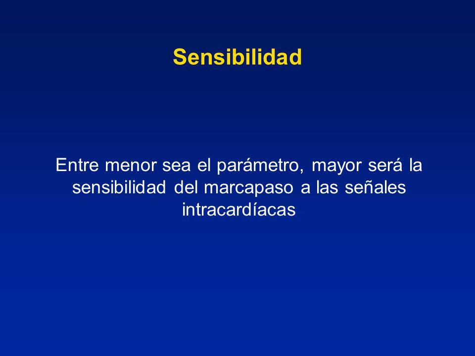 Sensibilidad Entre menor sea el parámetro, mayor será la sensibilidad del marcapaso a las señales intracardíacas.