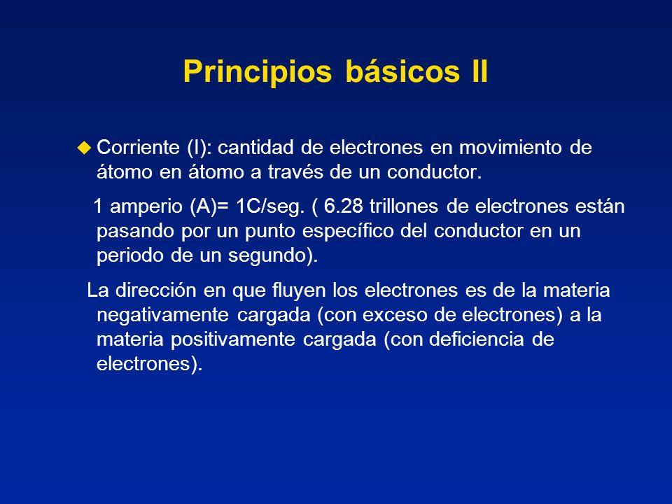Principios básicos IICorriente (I): cantidad de electrones en movimiento de átomo en átomo a través de un conductor.