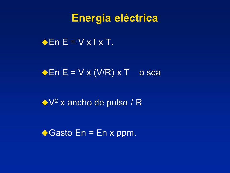 Energía eléctrica En E = V x I x T. En E = V x (V/R) x T o sea