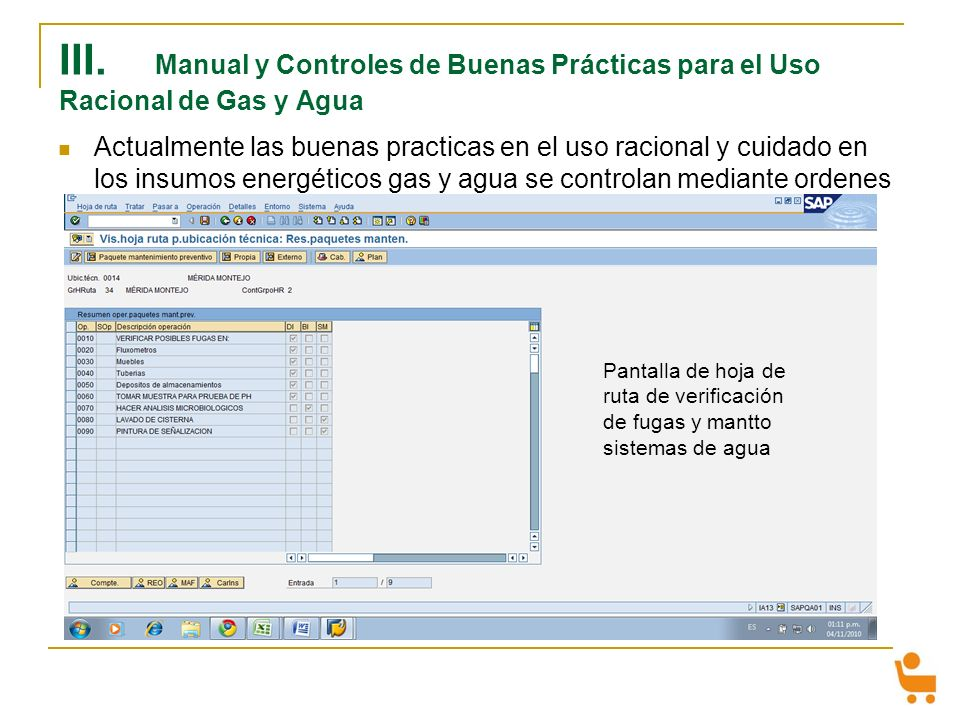 III. Manual y Controles de Buenas Prácticas para el Uso Racional de Gas y Agua