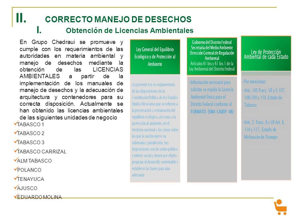 II. CORRECTO MANEJO DE DESECHOS