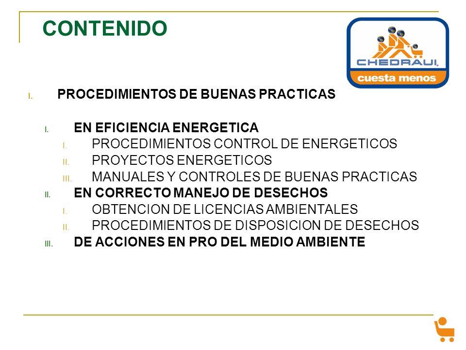 CONTENIDO PROCEDIMIENTOS DE BUENAS PRACTICAS EN EFICIENCIA ENERGETICA