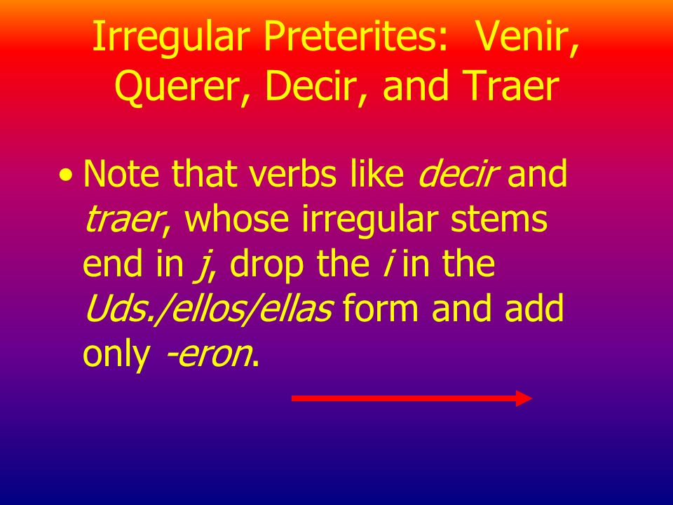 Irregular Preterites: Venir, Querer, Decir, and Traer