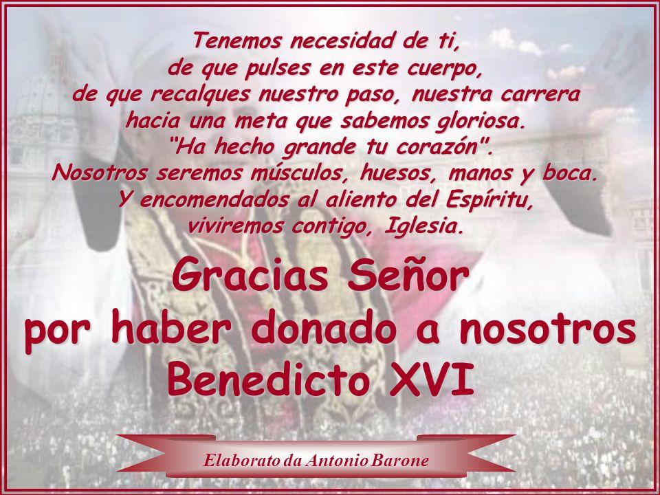Gracias Señor por haber donado a nosotros Benedicto XVI